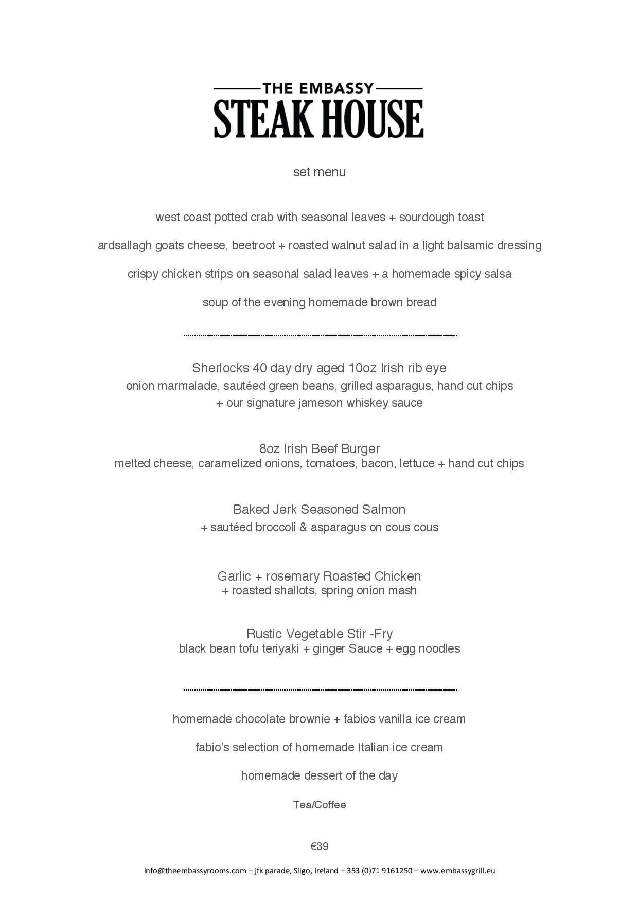 Set Menu 2019
