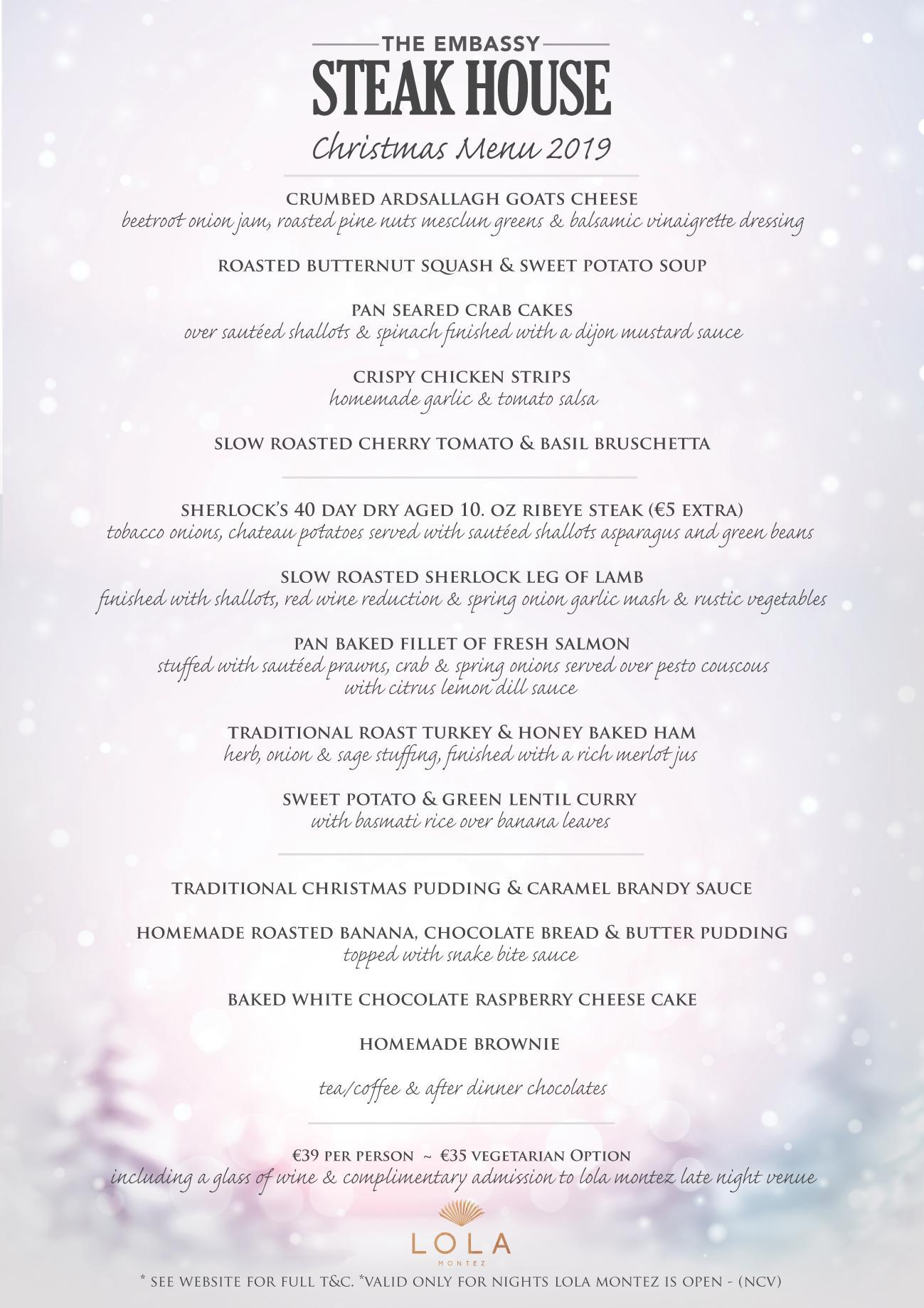 Embassy Steakhouse Christmas Menu 2019 Main